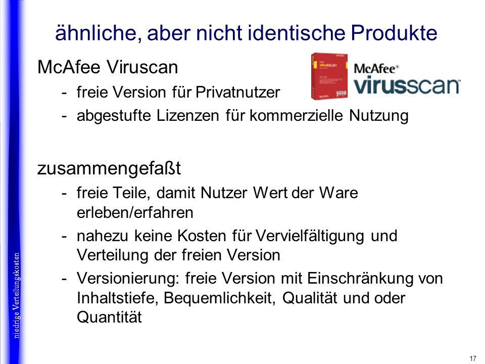 17 ähnliche, aber nicht identische Produkte McAfee Viruscan -freie Version für Privatnutzer -abgestufte Lizenzen für kommerzielle Nutzung zusammengefa