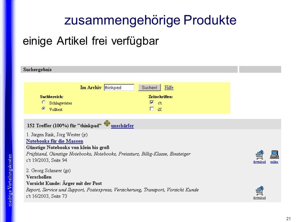21 niedrige Verteilungskosten zusammengehörige Produkte einige Artikel frei verfügbar