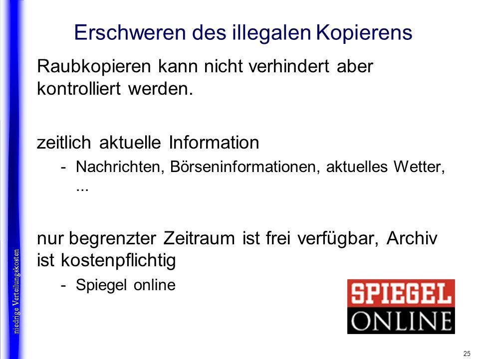 25 Erschweren des illegalen Kopierens Raubkopieren kann nicht verhindert aber kontrolliert werden. zeitlich aktuelle Information -Nachrichten, Börseni