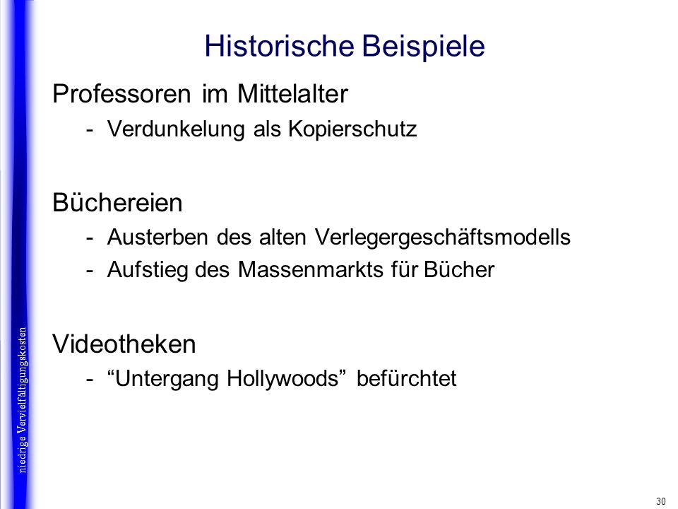 30 Historische Beispiele Professoren im Mittelalter -Verdunkelung als Kopierschutz Büchereien -Austerben des alten Verlegergeschäftsmodells -Aufstieg