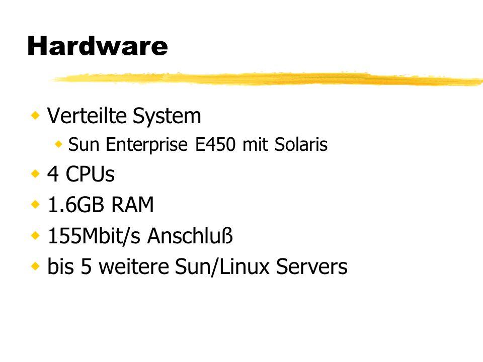 Hardware Verteilte System Sun Enterprise E450 mit Solaris 4 CPUs 1.6GB RAM 155Mbit/s Anschluß bis 5 weitere Sun/Linux Servers
