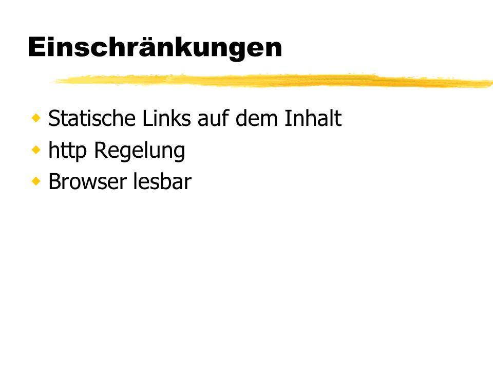 Einschränkungen Statische Links auf dem Inhalt http Regelung Browser lesbar