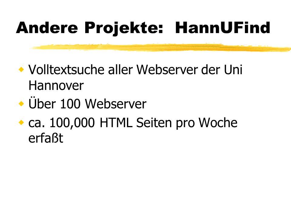 Andere Projekte: HannUFind Volltextsuche aller Webserver der Uni Hannover Über 100 Webserver ca.