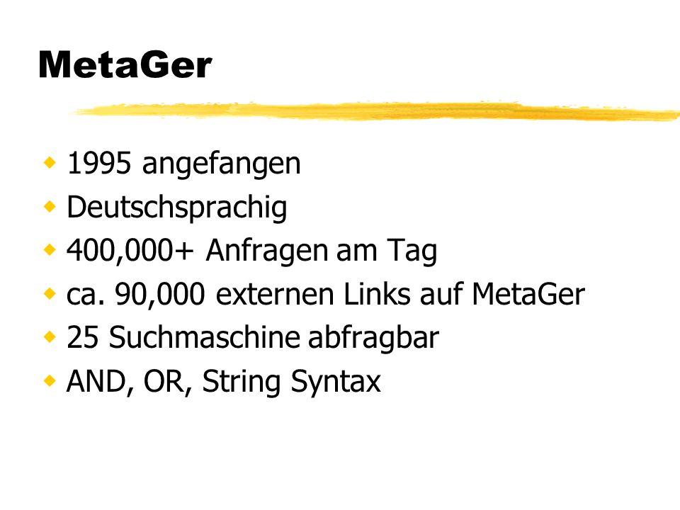 Quellen MetaGer Homepage meta.rrzn.uni-hannover.de/suma.html Internet Information Retrieval www.uni-hannover.de/inet98/paper.html Forschungsportal forschungsportal.net metager.de/cris2002/