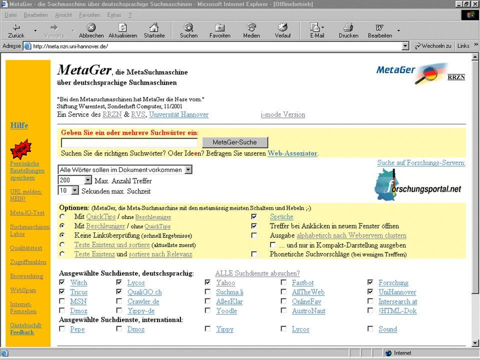Forschungsportal Besonders für Forschung Problem des Deepwebs lösen folge jedes Link besonders der Art: www.anyurl.dom/path?parameters 2000 Benutzer am Tag 8 Millionen Pages