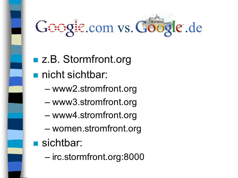 .com vs..de n z.B.