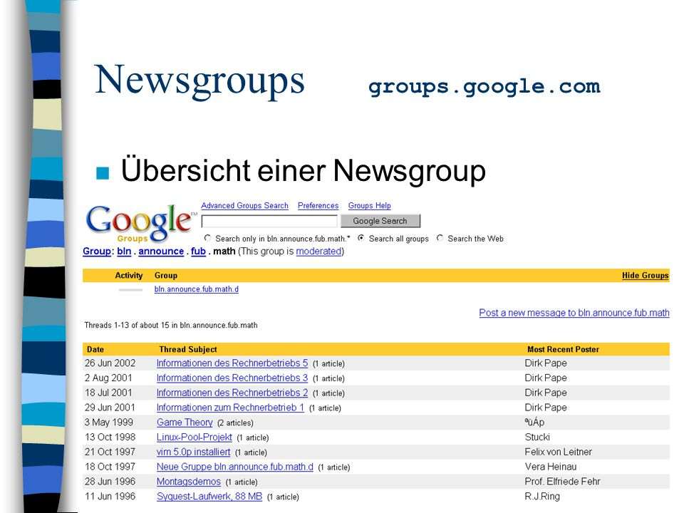 Newsgroups groups.google.com n Übersicht einer Newsgroup