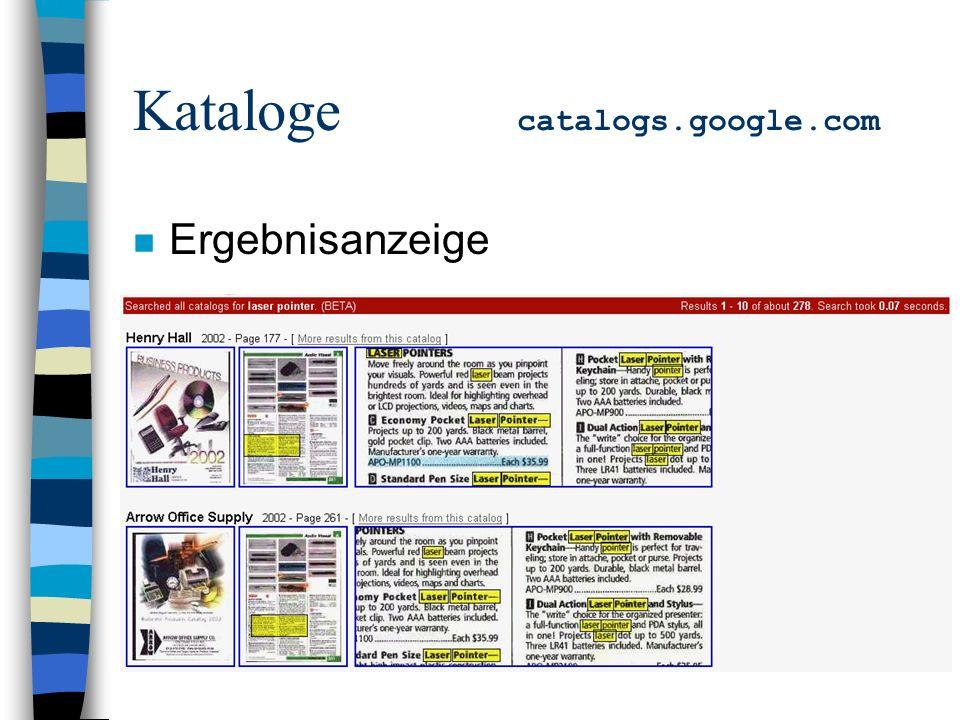 Kataloge catalogs.google.com n Ergebnisanzeige