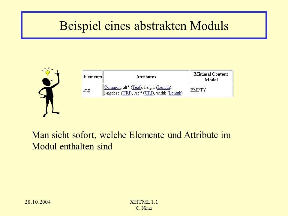 28.10.2004XHTML 1.1 C.Nimz Wie erstellt man abstrakte Module.