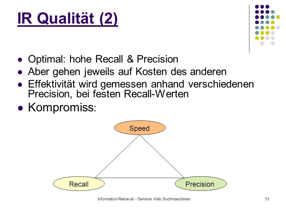 Information Retrieval - Seminar Web Suchmaschinen13 IR Qualität (2) Optimal: hohe Recall & Precision Aber gehen jeweils auf Kosten des anderen Effektivität wird gemessen anhand verschiedenen Precision, bei festen Recall-Werten Kompromiss : Recall Speed Precision