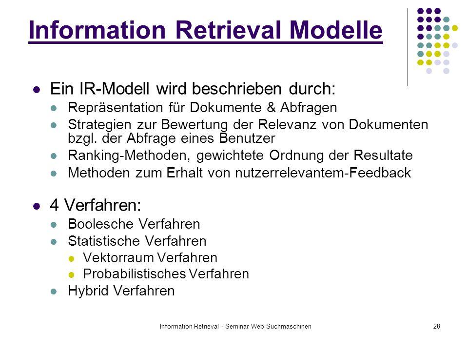 Information Retrieval - Seminar Web Suchmaschinen28 Ein IR-Modell wird beschrieben durch: Repräsentation für Dokumente & Abfragen Strategien zur Bewertung der Relevanz von Dokumenten bzgl.