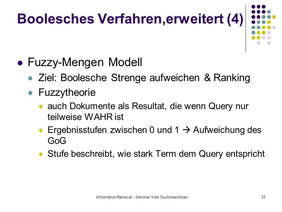 Information Retrieval - Seminar Web Suchmaschinen33 Boolesches Verfahren,erweitert (4) Fuzzy-Mengen Modell Ziel: Boolesche Strenge aufweichen & Ranking Fuzzytheorie auch Dokumente als Resultat, die wenn Query nur teilweise WAHR ist Ergebnisstufen zwischen 0 und 1 Aufweichung des GoG Stufe beschreibt, wie stark Term dem Query entspricht