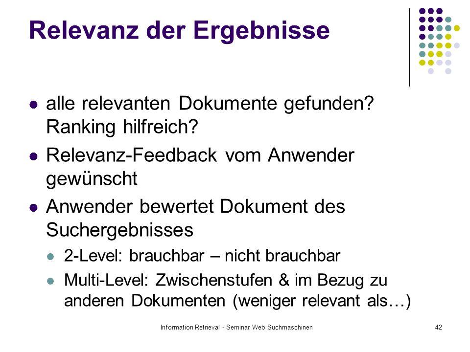 Information Retrieval - Seminar Web Suchmaschinen42 Relevanz der Ergebnisse alle relevanten Dokumente gefunden? Ranking hilfreich? Relevanz-Feedback v
