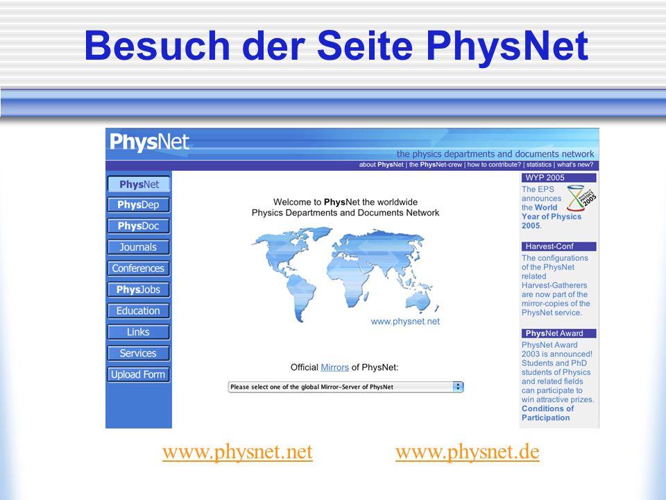 Besuch der Seite PhysNet www.physnet.netwww.physnet.de