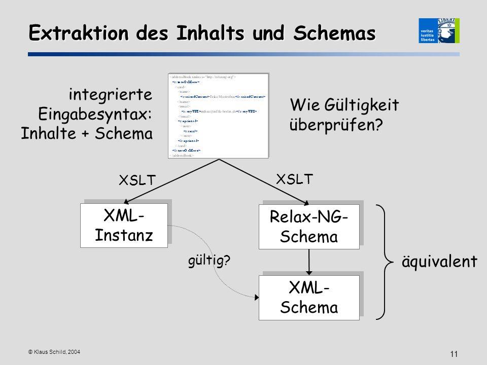 © Klaus Schild, 2004 11 Extraktion des Inhalts und Schemas XML- Instanz Relax-NG- Schema XML- Schema XSLT gültig? äquivalent integrierte Eingabesyntax
