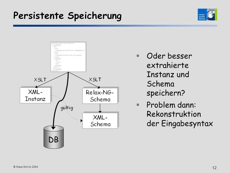 © Klaus Schild, 2004 12 Persistente Speicherung DB Oder besser extrahierte Instanz und Schema speichern? Problem dann: Rekonstruktion der Eingabesynta