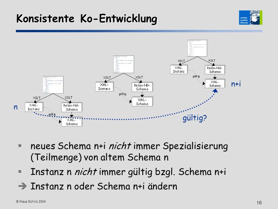 © Klaus Schild, 2004 16 Konsistente Ko-Entwicklung neues Schema n+i nicht immer Spezialisierung (Teilmenge) von altem Schema n Instanz n nicht immer g