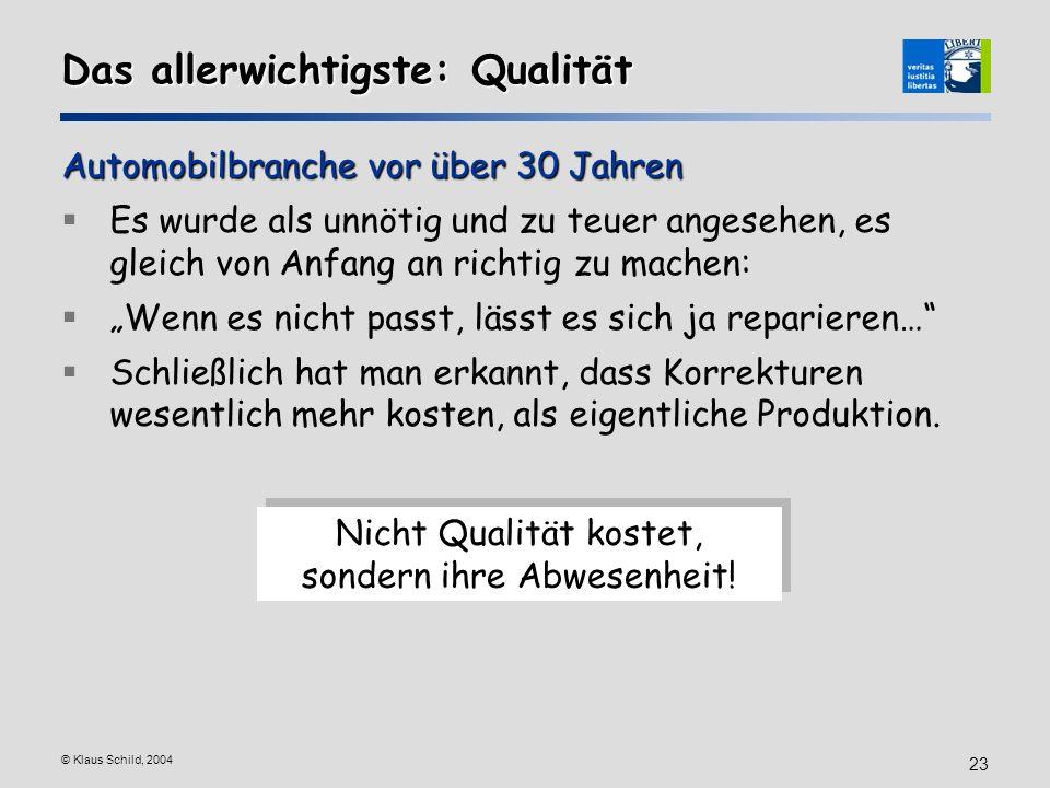 © Klaus Schild, 2004 23 Das allerwichtigste: Qualität Automobilbranche vor über 30 Jahren Es wurde als unnötig und zu teuer angesehen, es gleich von A