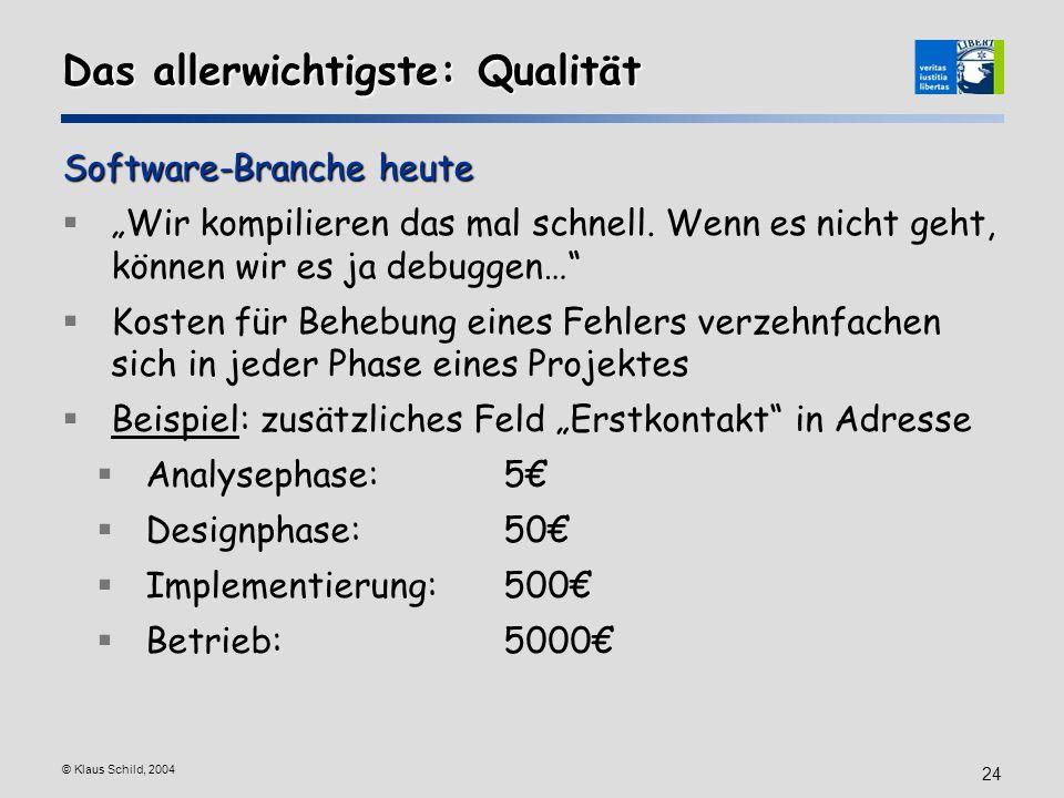 © Klaus Schild, 2004 24 Das allerwichtigste: Qualität Software-Branche heute Wir kompilieren das mal schnell. Wenn es nicht geht, können wir es ja deb