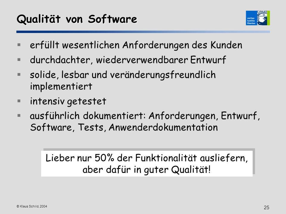 © Klaus Schild, 2004 25 Qualität von Software erfüllt wesentlichen Anforderungen des Kunden durchdachter, wiederverwendbarer Entwurf solide, lesbar un