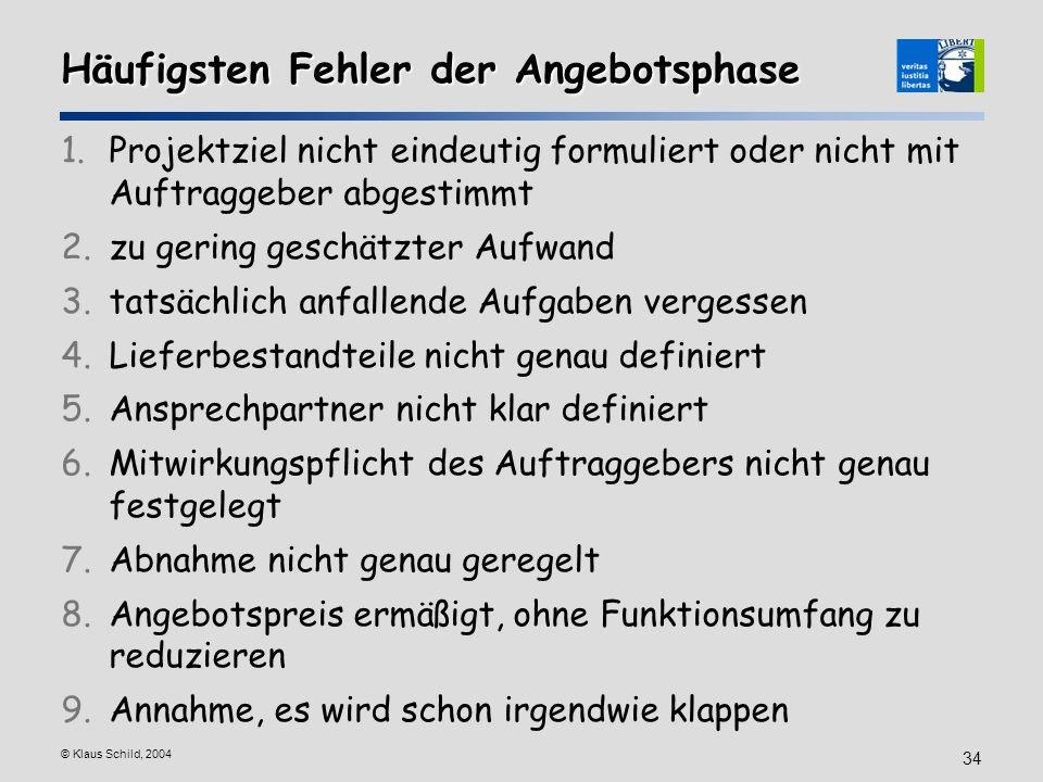 © Klaus Schild, 2004 34 Häufigsten Fehler der Angebotsphase 1.Projektziel nicht eindeutig formuliert oder nicht mit Auftraggeber abgestimmt 2.zu gerin
