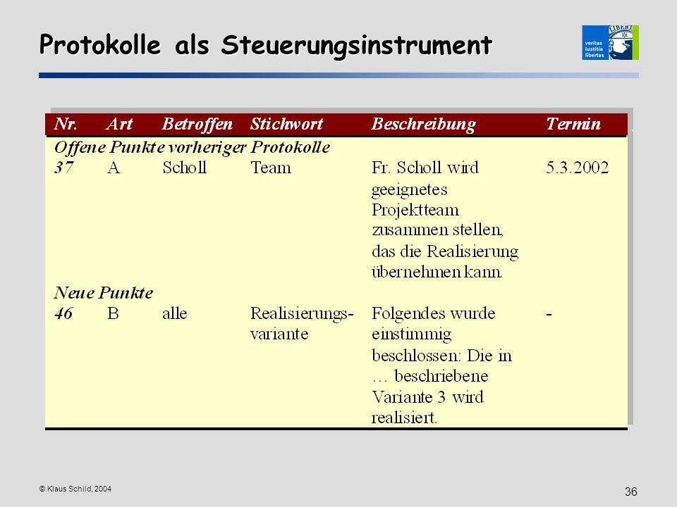 © Klaus Schild, 2004 36 Protokolle als Steuerungsinstrument