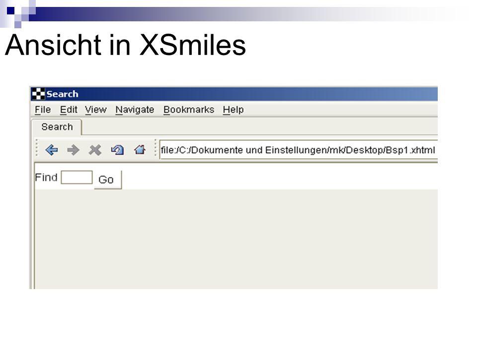 XForms actions toggle:Wechselt zu anderem case insert:Fügt neues Element ein delete:Löscht Element setindex:Setzt den Index von repeat dispatch: Leitet (veränderte) events weiter action:Ruft (mehrere) andere actions auf