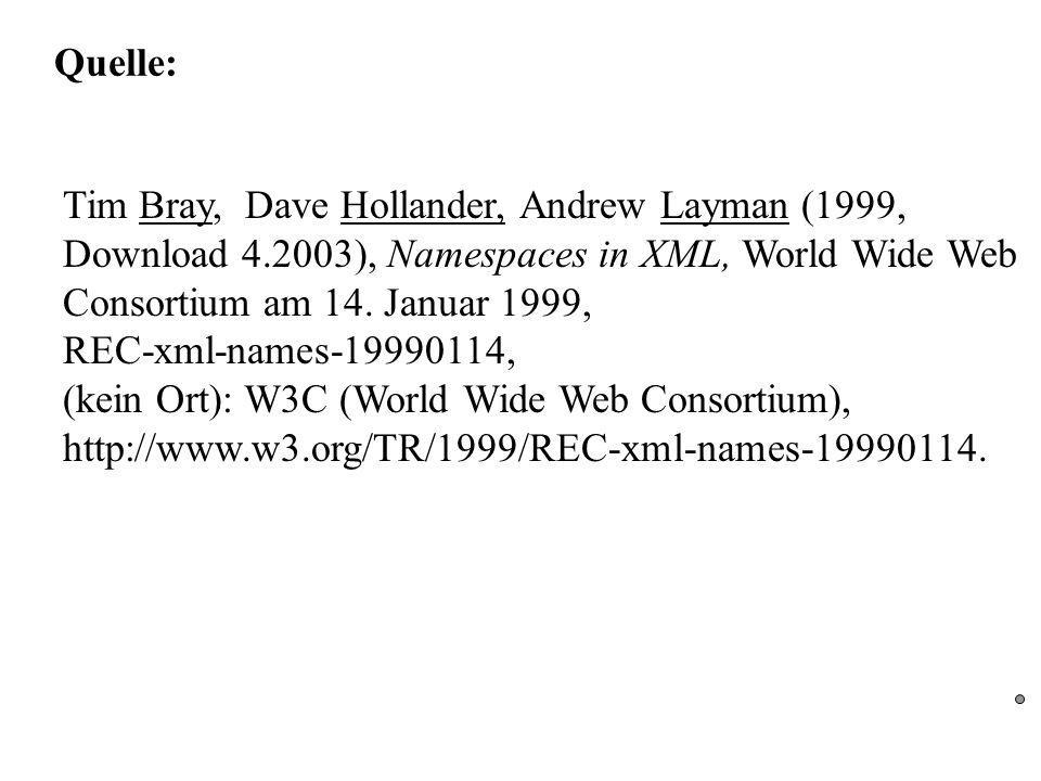 Quelle: Tim Bray, Dave Hollander, Andrew Layman (1999, Download 4.2003), Namespaces in XML, World Wide Web Consortium am 14.