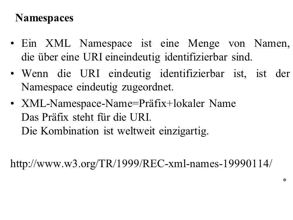 Namespaces Ein XML Namespace ist eine Menge von Namen, die über eine URI eineindeutig identifizierbar sind.