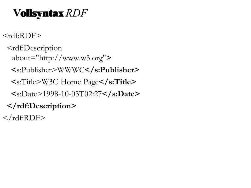 Vollsyntax WWWC W3C Home Page 1998-10-03T02:27 Vollsyntax RDF