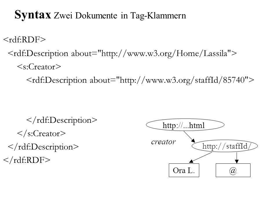 Syntax Zwei Dokumente in Tag-Klammern Ora L. creator @ http://staffId/ http://...html