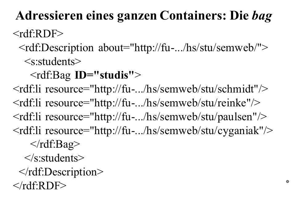 Adressieren eines ganzen Containers: Die bag