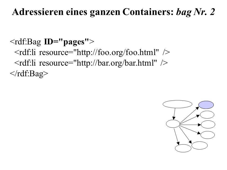 Adressieren eines ganzen Containers: bag Nr. 2