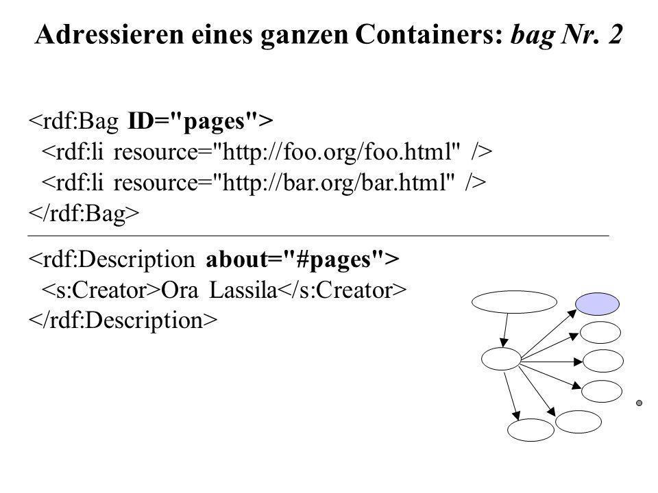 Adressieren eines ganzen Containers: bag Nr. 2 Ora Lassila
