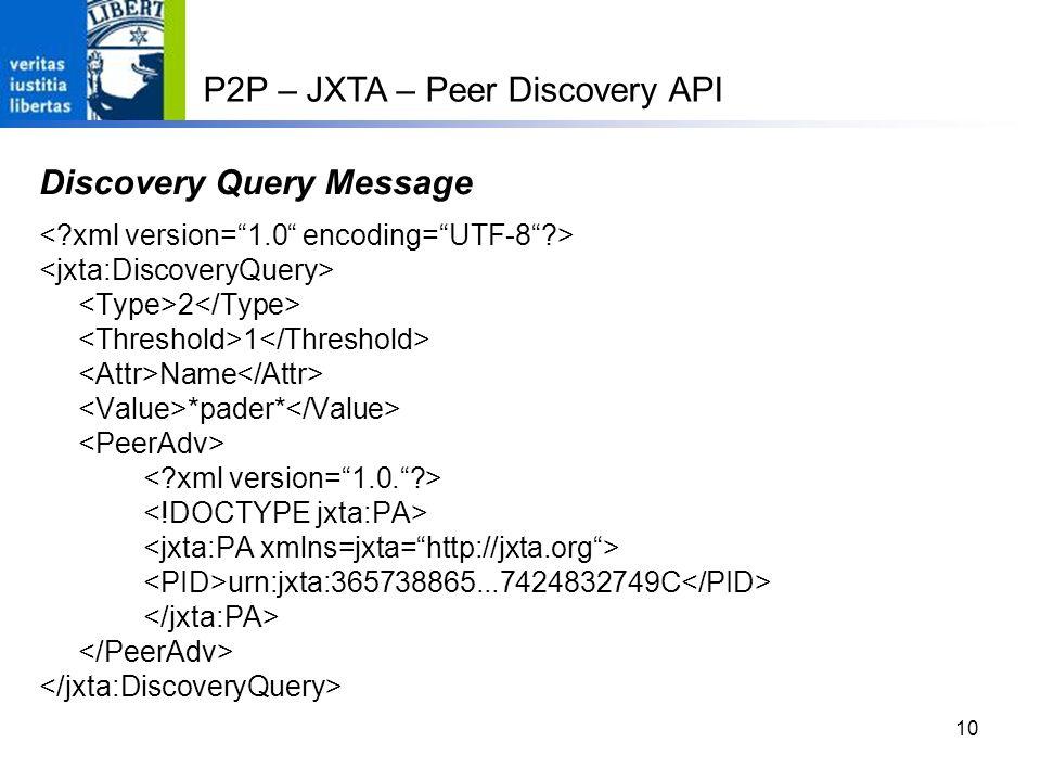 10 Discovery Query Message 2 1 Name *pader* urn:jxta:365738865...7424832749C P2P – JXTA – Peer Discovery API