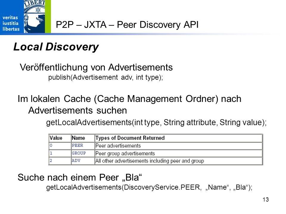 13 Local Discovery Im lokalen Cache (Cache Management Ordner) nach Advertisements suchen getLocalAdvertisements(int type, String attribute, String value); Suche nach einem Peer Bla getLocalAdvertisements(DiscoveryService.PEER, Name, Bla); P2P – JXTA – Peer Discovery API Veröffentlichung von Advertisements publish(Advertisement adv, int type);