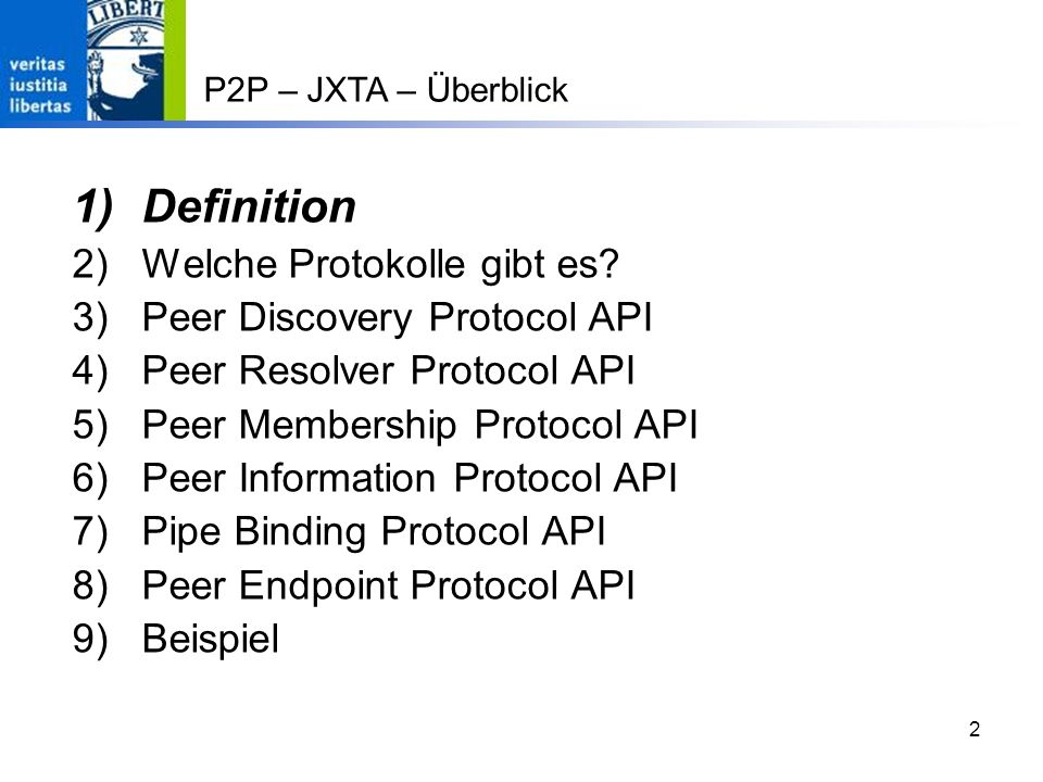 23 P2P – JXTA – Peer Resolver API III Benutzen des ResolverServices // Query erstellen ResolverQueryMsg message = null; String xml = serializeDoc(doc); message = new ResolverQuery(handlerName, credential, group.getPeerID().toString(), xml, 1); // und versenden; löst eine RunTimeException // aus, sofern der Peer nicht vorhanden resolver.sendQuery(peerID, message);