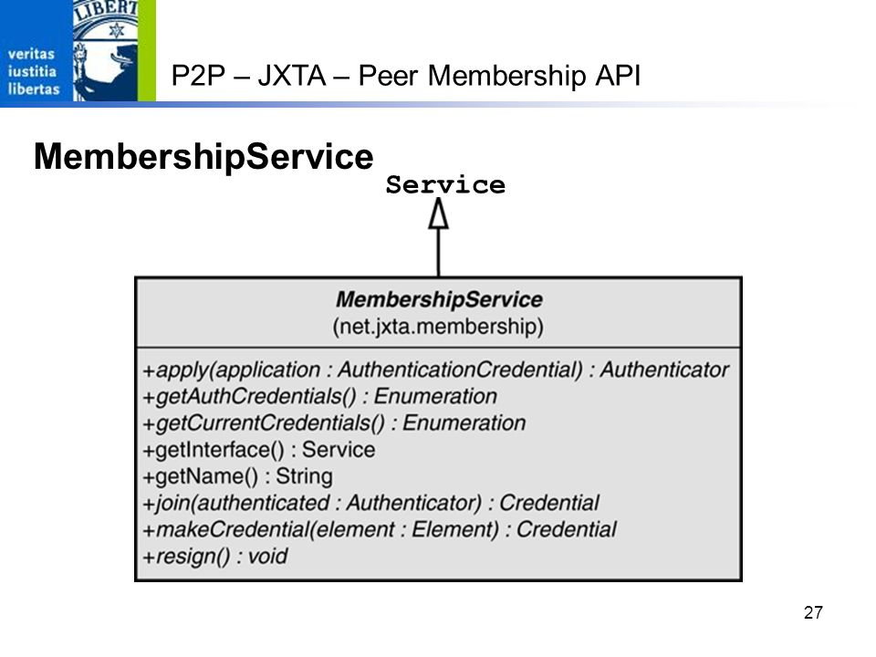 27 P2P – JXTA – Peer Membership API MembershipService Service