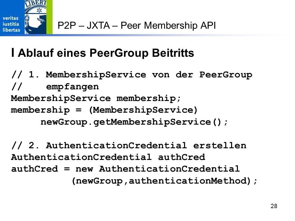 28 P2P – JXTA – Peer Membership API I Ablauf eines PeerGroup Beitritts // 1.