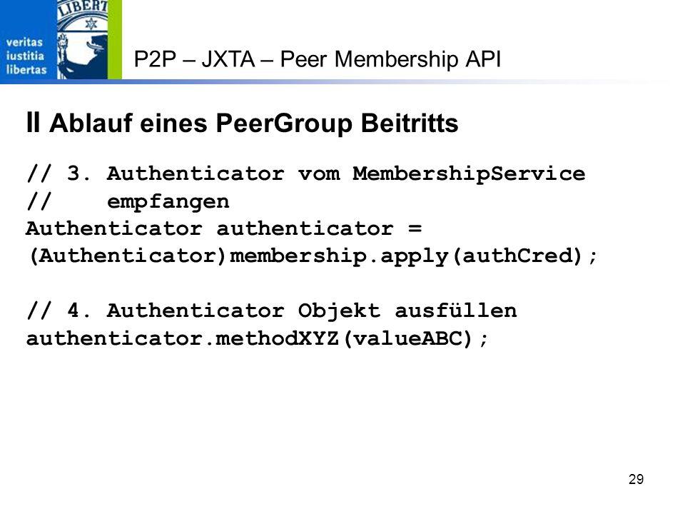 29 P2P – JXTA – Peer Membership API II Ablauf eines PeerGroup Beitritts // 3.