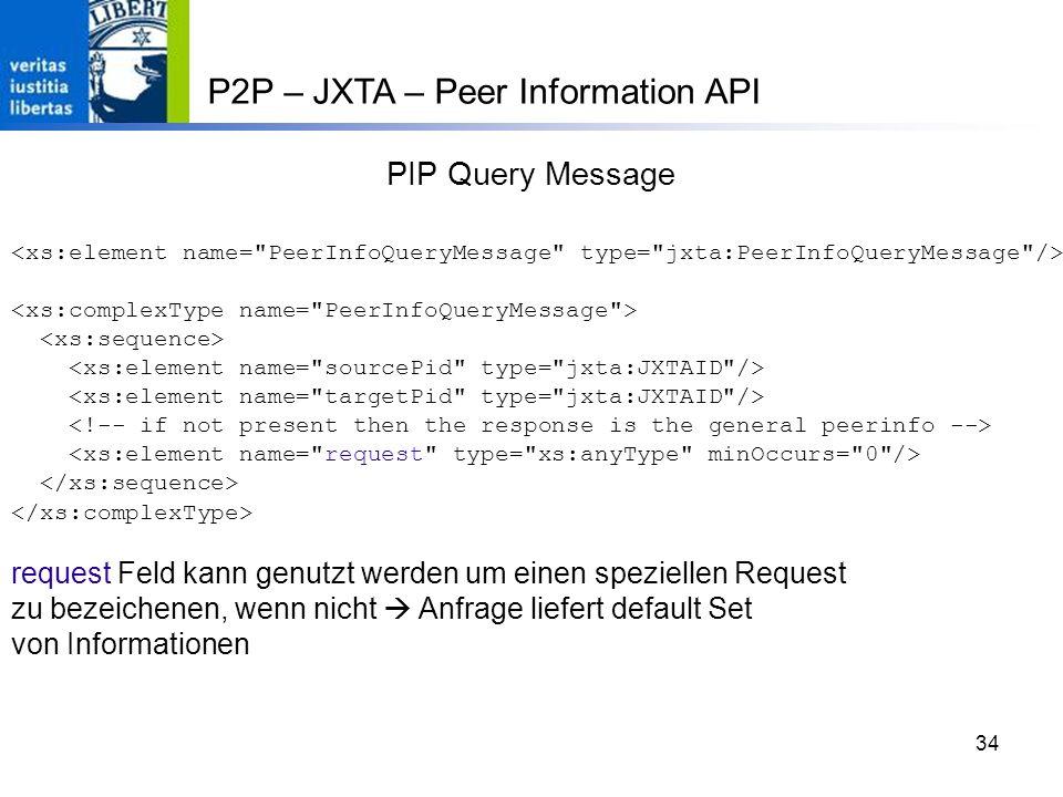 34 PIP Query Message request Feld kann genutzt werden um einen speziellen Request zu bezeichenen, wenn nicht Anfrage liefert default Set von Informationen P2P – JXTA – Peer Information API