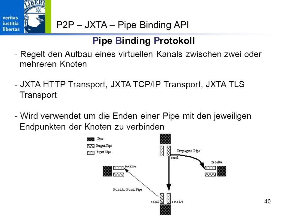 40 Pipe Binding Protokoll - Regelt den Aufbau eines virtuellen Kanals zwischen zwei oder mehreren Knoten - JXTA HTTP Transport, JXTA TCP/IP Transport, JXTA TLS Transport - Wird verwendet um die Enden einer Pipe mit den jeweiligen Endpunkten der Knoten zu verbinden P2P – JXTA – Pipe Binding API