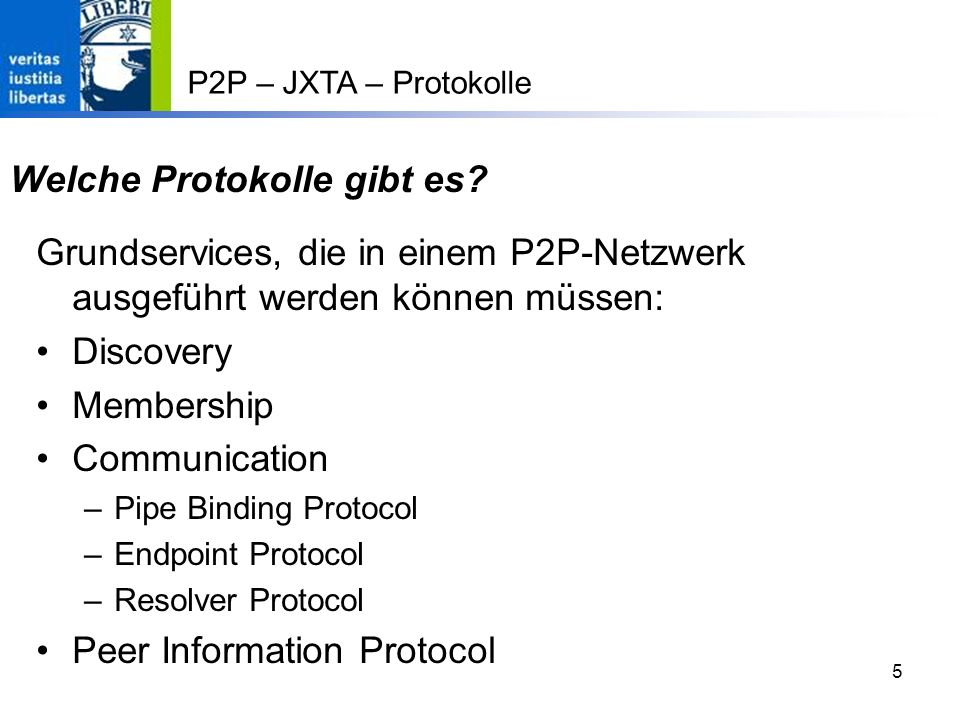 56 20.05.0456 P2P – JXTA – Beispiel: Peer Group Discovery Start JXTA II discovery = netPeerGroup.getDiscoveryService(); rdv = netPeerGroup.getRendezVousService(); //Wait until we connect to a rendezvous peer System.out.print( Waiting to connect... ); while (.
