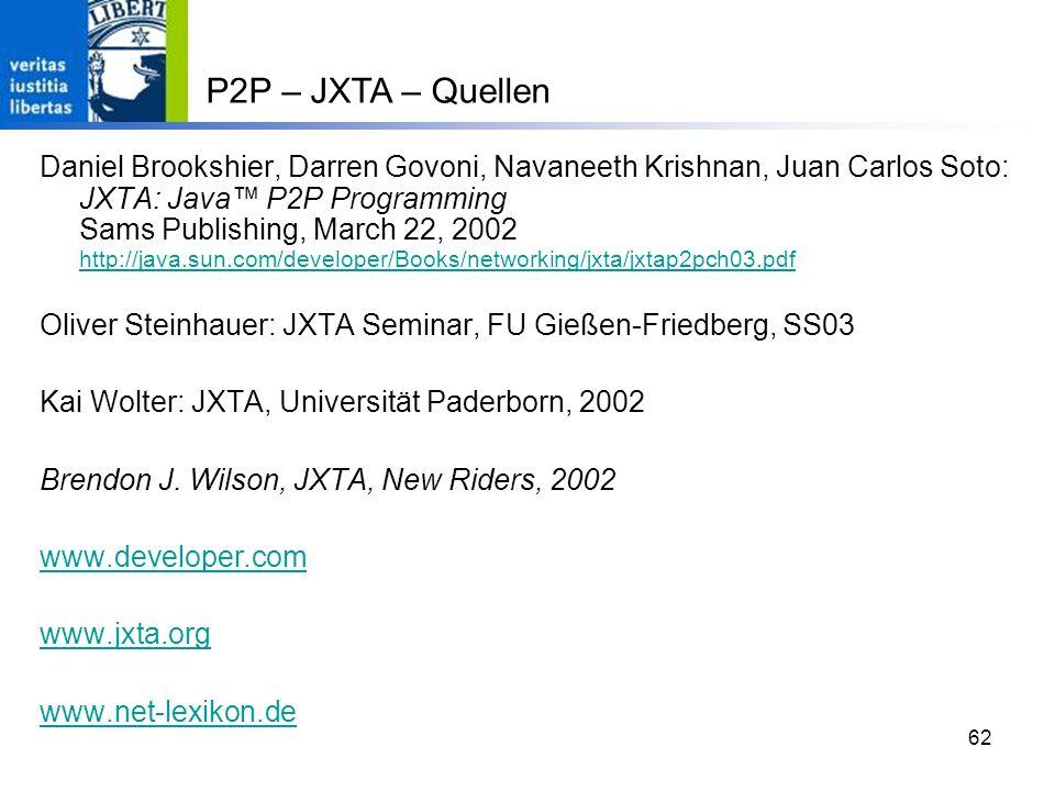 62 Daniel Brookshier, Darren Govoni, Navaneeth Krishnan, Juan Carlos Soto: JXTA: Java P2P Programming Sams Publishing, March 22, 2002 http://java.sun.com/developer/Books/networking/jxta/jxtap2pch03.pdf http://java.sun.com/developer/Books/networking/jxta/jxtap2pch03.pdf Oliver Steinhauer: JXTA Seminar, FU Gießen-Friedberg, SS03 Kai Wolter: JXTA, Universität Paderborn, 2002 Brendon J.