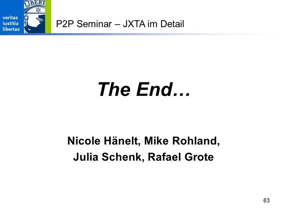 63 The End… Nicole Hänelt, Mike Rohland, Julia Schenk, Rafael Grote P2P Seminar – JXTA im Detail