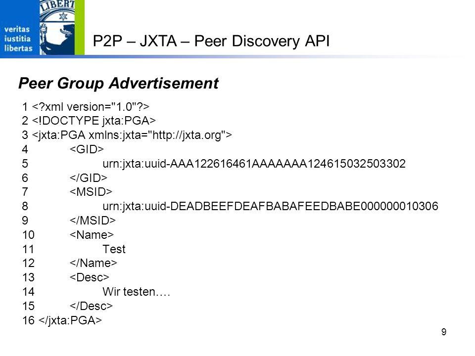9 Peer Group Advertisement 1 2 3 4 5 urn:jxta:uuid-AAA122616461AAAAAAA124615032503302 6 7 8 urn:jxta:uuid-DEADBEEFDEAFBABAFEEDBABE000000010306 9 10 11 Test 12 13 14 Wir testen….