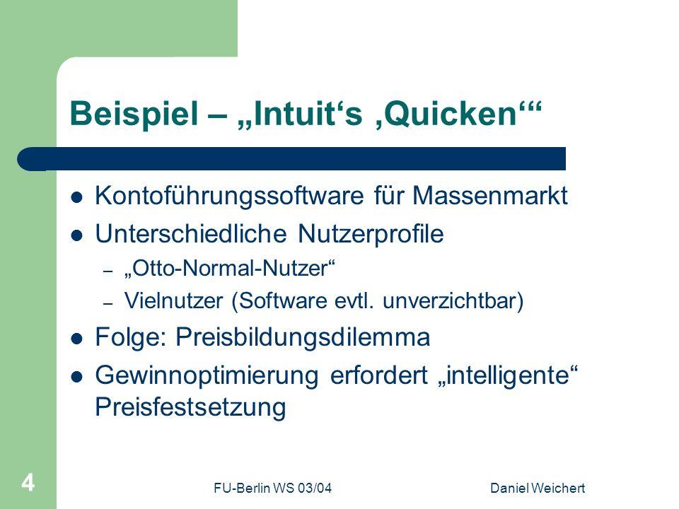 FU-Berlin WS 03/04Daniel Weichert 5 Beispiel – Quicken-Verkaufspreise