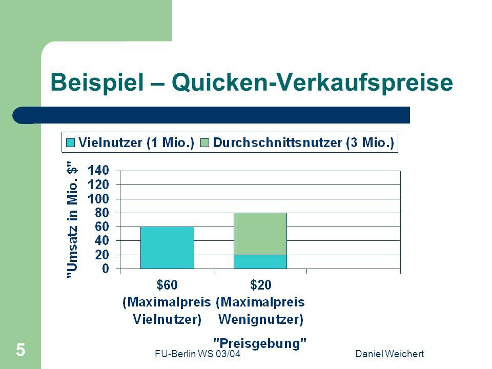 FU-Berlin WS 03/04Daniel Weichert 26 Zusammenfassung Auf Preissensibilität zur Marktverbreiterung eingehen Netzwerk-Effekte (meist aus Kostengründen entstanden) wollen ausgenutzt werden Lock-In als Methode zur Erreichung langfristiger Ziele Kosten-Nutzen-Abwägung in Hinblick auf Sharing Agreements