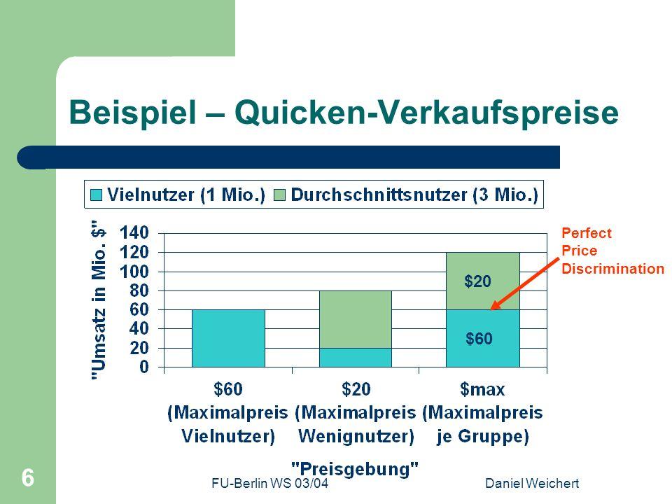 FU-Berlin WS 03/04Daniel Weichert 17 Netzwerk-Effekte Gruppenzwang-Effekt Wertsteigerung durch viele Nutzer – Standardisierungswunsch innerhalb eines Unternehmens – Anpassung an andere Unternehmen Ausnutzung durch Anbieter – Mengenrabatte – Verschiedenste Lizenz-Angebote bei Info-Gütern