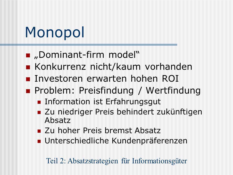 Monopol Dominant-firm model Konkurrenz nicht/kaum vorhanden Investoren erwarten hohen ROI Problem: Preisfindung / Wertfindung Information ist Erfahrun